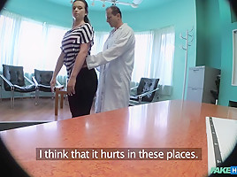 Nata in Doctor empties his sack to ease sexy patients pain in her back - FakeHospital