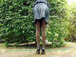 Leather Miniskirt Satin Panties